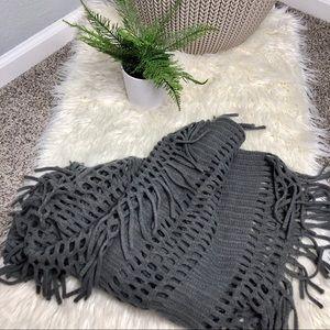 Grey Open Knit Fridge Infinity Scarf